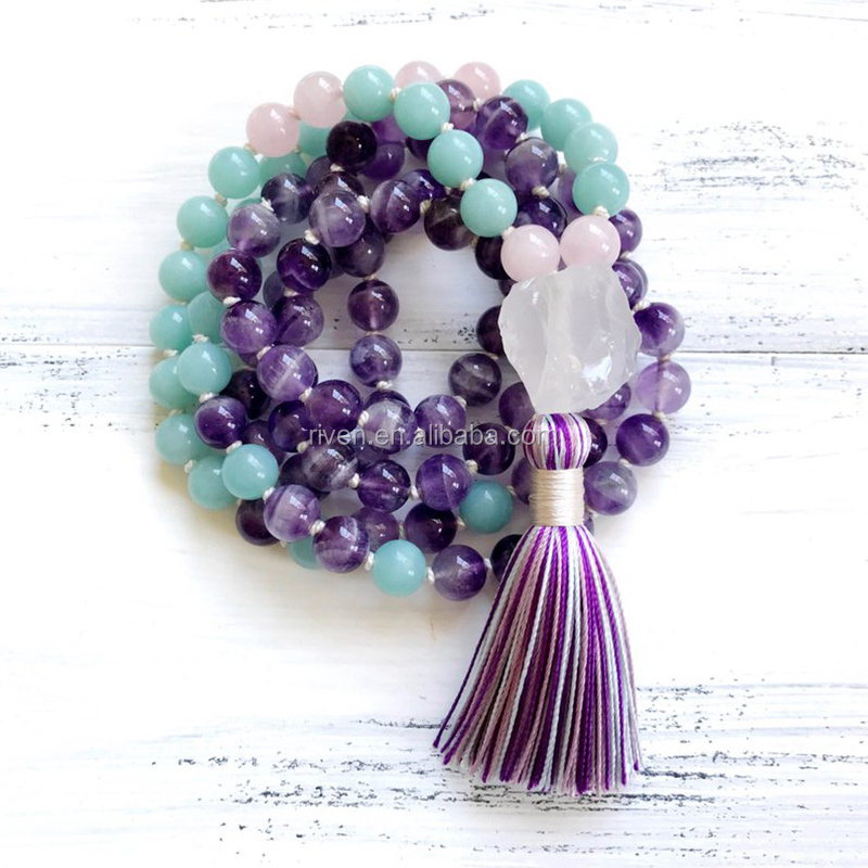 ST0555  Yoga Meditation Spiritual Jewelry Boho Amethyst Amazonite Mala Beads Neacklace 108 Knotted Tassel Raw Quartz Necklace
