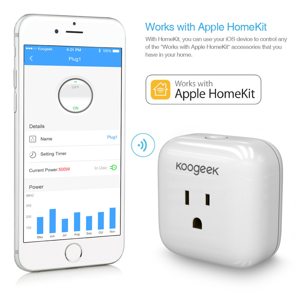 Koogeek Home Smart Plug Wi-Fi Enabled with Apple HomeKit Technology Support Siri Control, Pivot Power Genius