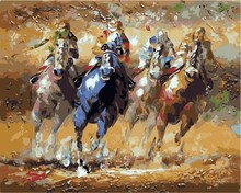 Wholesale 40*50 2.5cm frame horse racing animal diy oil Paint by numbers kits From painting factory with 3ml 5ml vacuum acrylic