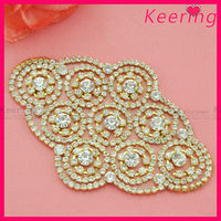 gold plating and clear crystal trimming patch diamond rhinestone iron on transfer WRP-013