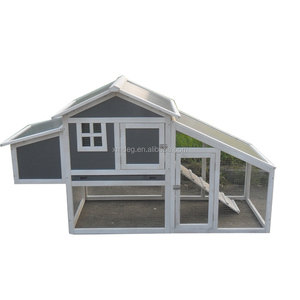 "75"" Wood Frame & Plastic Chicken Coop Hen House with Nesting Box"