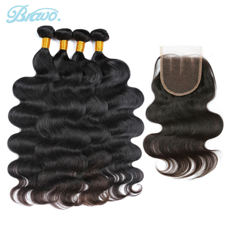 Peruvian Virgin Hair Body Wave 4pcs Human Hair Weave Bundles with Three Part Lace Closure Bravo Hair Products Hair Extensions