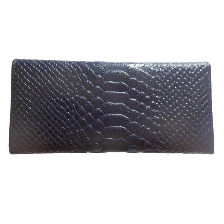 Free Shipping, Dark Blue PU Leather Long Lady Clutch for Cash Cards and Receipt