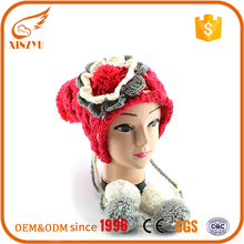 2016 winter pom beanie wholesale flower accessory winter hats with strings
