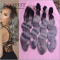 Brazilian Grey hair Weave 3 Bundles with closure Silver Gray Hair Extensions 100g/pcs Ombre grey hair colored Free Ship