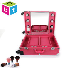 professional rolling salon lighted beauty makeup cosmetic make up station case trolley with bulbs lights wheels