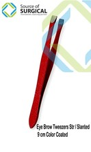 high quality Red designed Colour coated stainless steel tweezer/promotion gift eyebrow tweezer