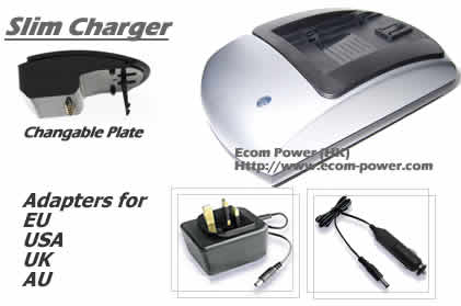 Slim Charger for Camera or Camcorder battery With exchangeable Plate and AC Car Adapter Main Adapter