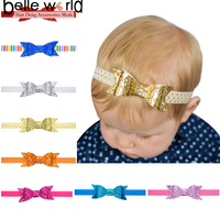 Fashion sequin bowknot thin elastic headbands for toddler baby