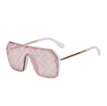 Women Letter Mirror Coating Fashion Trendy Vintage One Piece Stripe Lens Oversized Square Sunglasses <strong>C1000</strong>