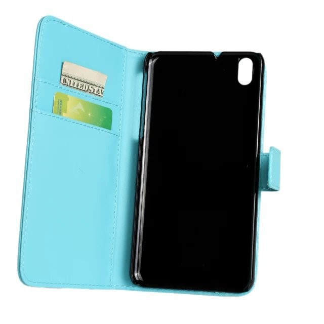 2014 New Stylish Light Blue Color Leather Flip Cover Case for HTC Desire 816 phone