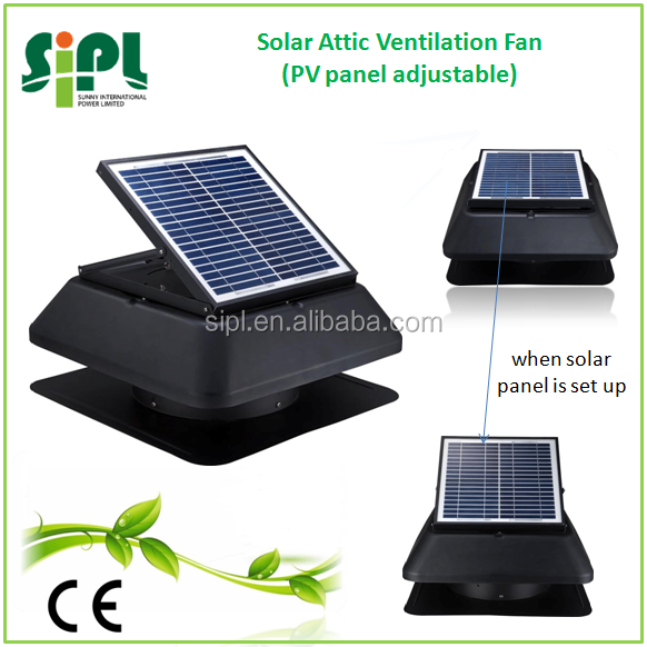 Air circulation solar attic exhaust fan