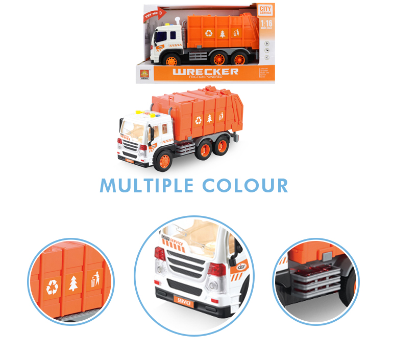 Wholesale 1:16 battery operated musical inertial toy garbage trucks for kids
