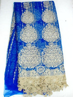 Australian design j464-3 blue african french tulle lace fabric with gold thread