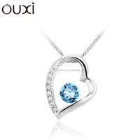 OUXI Heart jewelry18K Gold Plated Jewellery Crystal Necklace10614