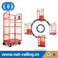 Warehouse folding wire steel storage cage cart