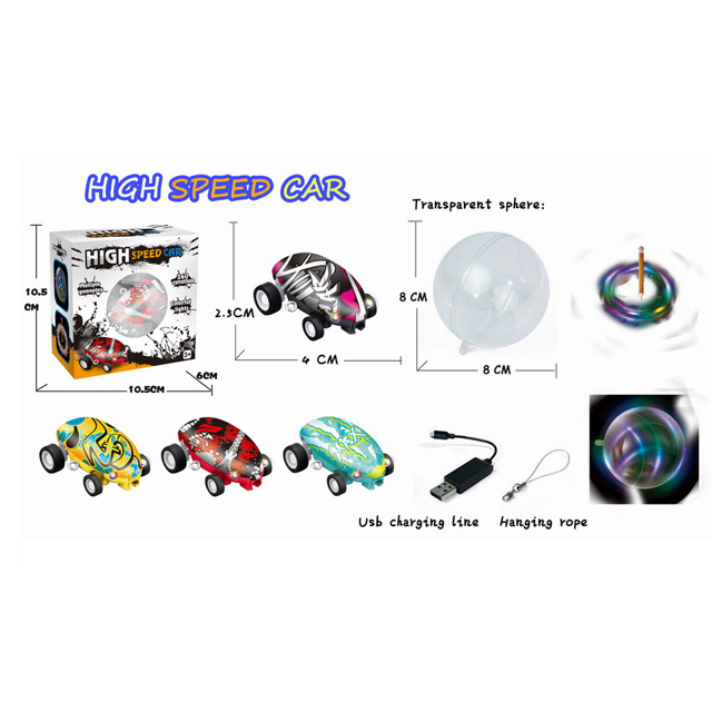 High Speed 360 Degree Laser Chariot Spinning Mini Stunt Car Toys