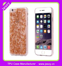 JESOY Gold Foil Flake Glitter Clear Silicone For iPhone 5 5s Case Slim Cover
