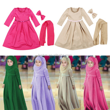 2017 Fashion kid dresses custom cotton wholesale girl dress for muslim girls