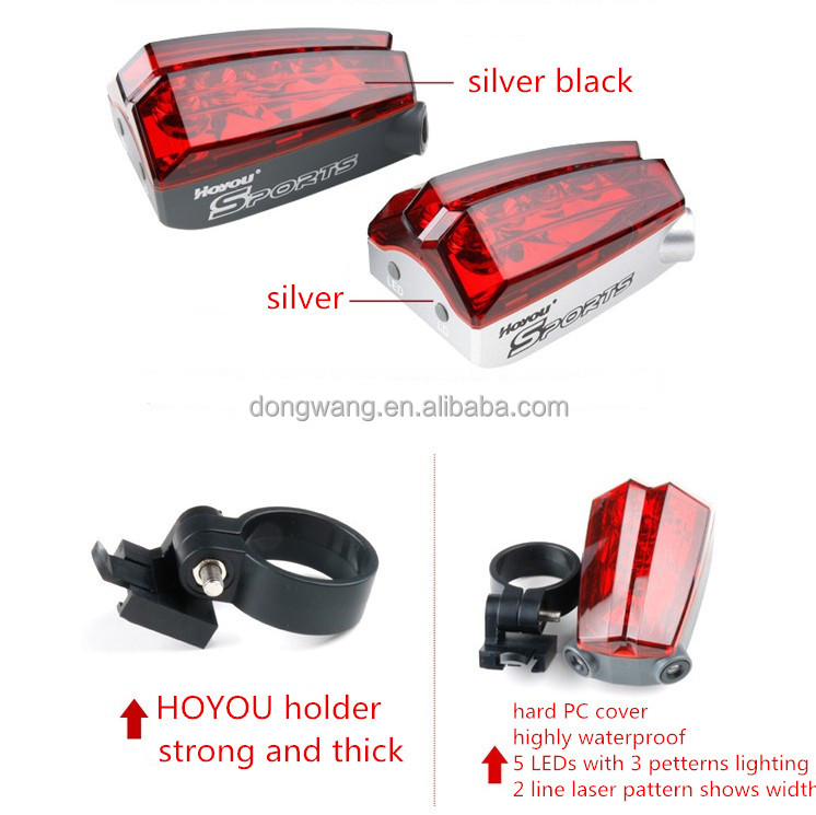 2015 New Design 5 Super bright red LED and 2 lasers rear led safety light clip on bicycle