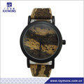 Wooden fringe PU band guangzhou watch factory
