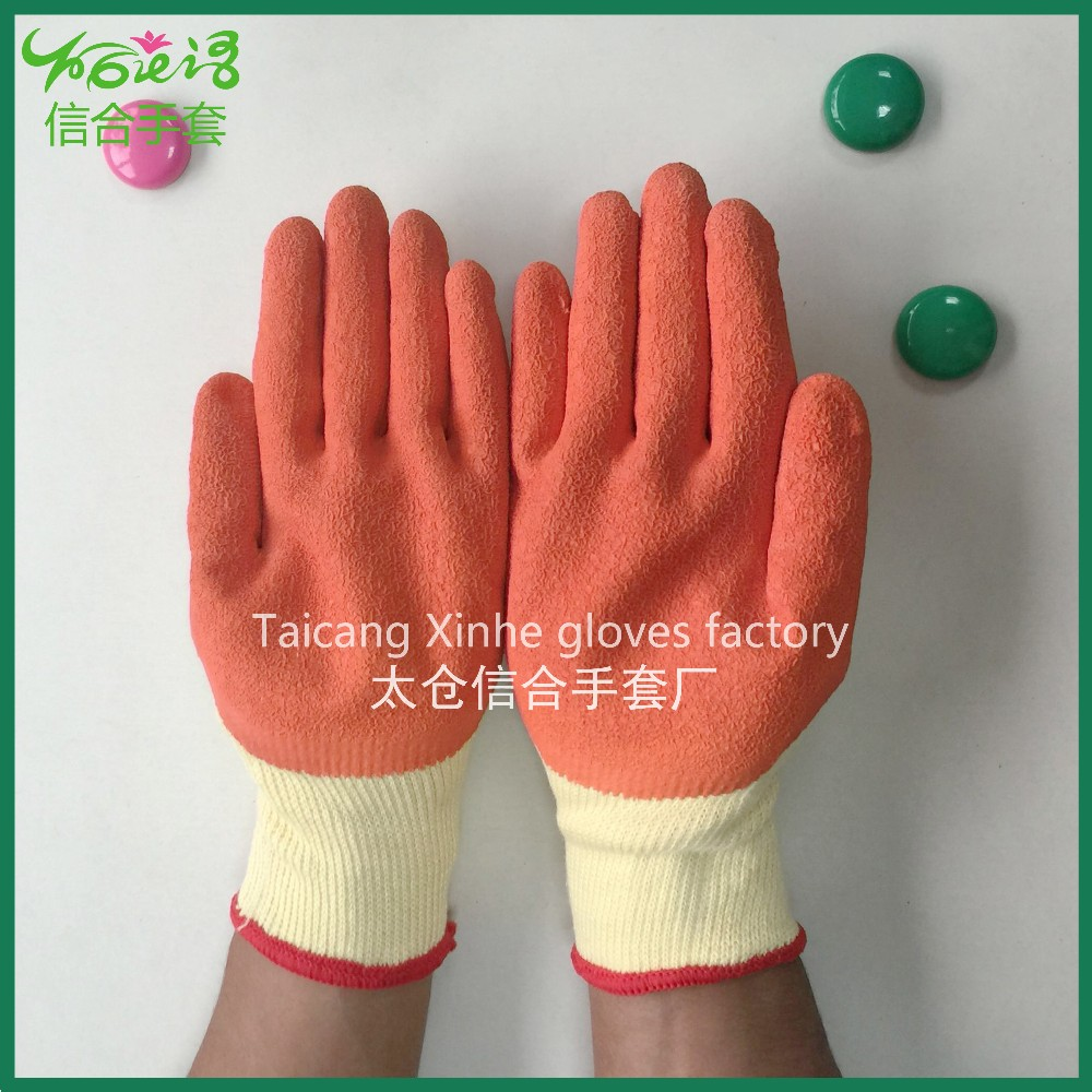 Wholesale hot orange rubber palm coated safety gloves