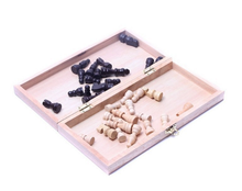 Funny wooden chess chessboard table game on the case