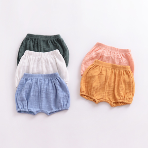 YY10214A Hot sell newborn baby bloomers 100% linen baby girl shorts