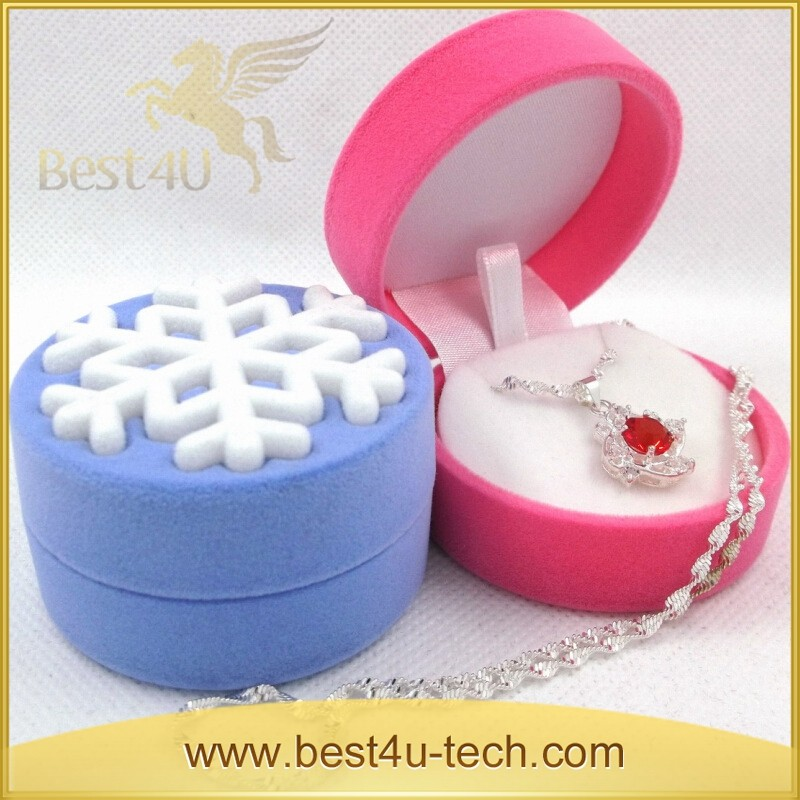 High Quality Snow Velvet Round Single Ring Display Case