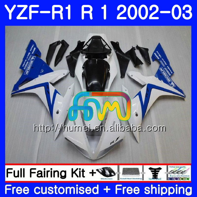 Body For YAMAHA YZF 1000 white blue YZFR1 <strong>02</strong> <strong>03</strong> YZF-1000 Bodywork 99HM14 YZF R 1 YZF <strong>R1</strong> <strong>02</strong> <strong>03</strong> YZF1000 YZF-<strong>R1</strong> 2002 2003 <strong>Fairing</strong>