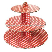 Red Spot 3 Tier Cupcake Stand Cake Stand Kit - Red and White Polka dots