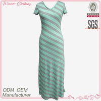 hot selling simple/cheap summer long dress with stripe and sleeve