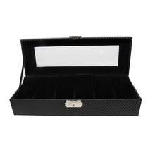 High-end carbon fiber pattern PVC display 6 slots leather gift luxury watch box for storage and packaging case