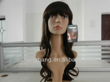 Popular 2013 Good quality long brown layered wigs Fake hair wigs hair women wavy curly Hair wigs 2T33# 30inch