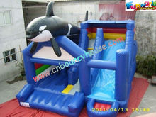 2013 new-style dolphin pvc inflatable combo games with slide