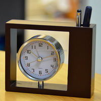 (W2810) Retro wooden table clock for hotel with Pen container
