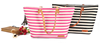 China Top Handle Stripe Pattern PP Non Woven Cotton Canvas Tote Bag With Leather Handles