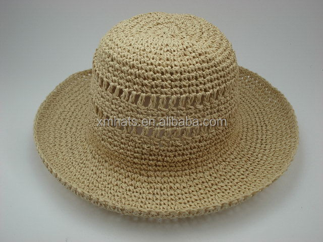 Practical excellent quality wool crochet straw hat