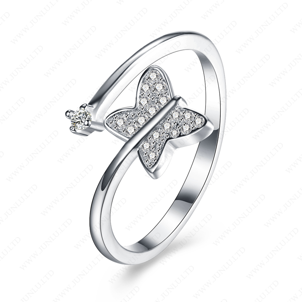 High quality butterfly ring nice anniversary women ring fashion 925 sterling silver jewelry