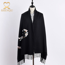 2017 winter wear thick caps women cheap scarf plum flower embroidered wool shawl viscose pashmina shawl with tassel