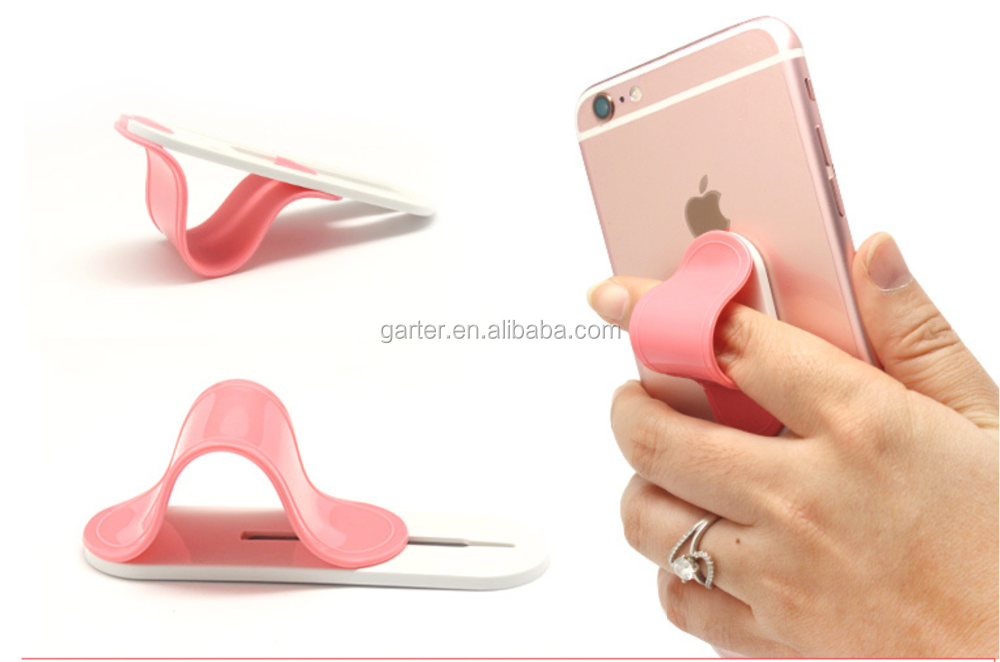 Secure Finger Grip Universal mobile Cell Phone Holder silicone grip