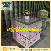 Woderful design glass top carving wood dining table with aluminum chair