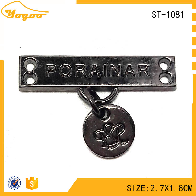 Cheap Custom Rectangle Gun Metal Clothing Label with Round Hang Tag