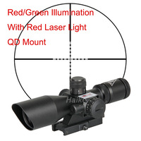 Scout Game Assault Hunting Tactical Airsoft Gun 2.5-10X40E Rifle Scope With Red Laser Cross Mil-Dot Red/Green Reticle QD Mount
