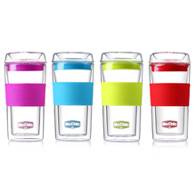 Mochic hot sale Double wall glass water cup/ promotional Insulated Coffee Mugs Tea Mug With silicon Lid and sleeve