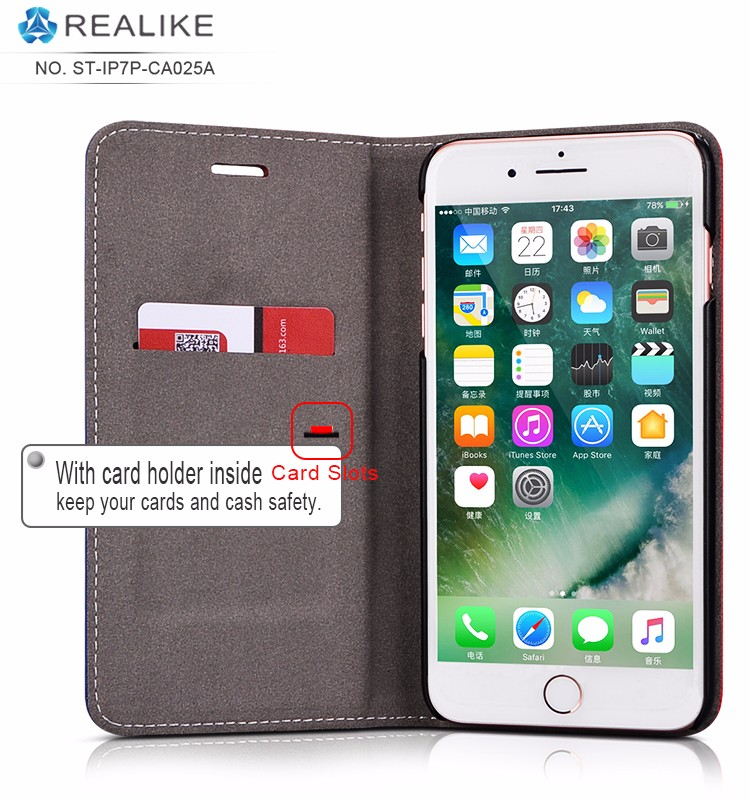 For iphone 7 plus wallet case Alibaba stock flip stand genuine pu leather cover