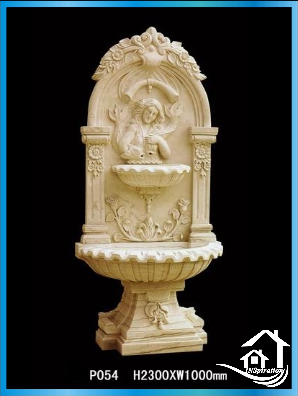 Handmade cast stone modern wall fountain