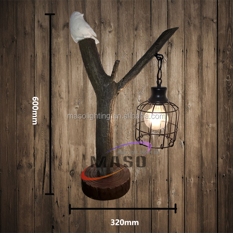 American Country Vintage Resin Table Lamp for Hotel Resturant Bar Home Decoration Bird Cage New Designed Metal Table Lamp