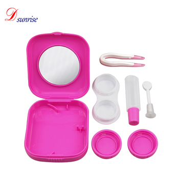 New Cute Pocket Mini Contact Lens Case Red Travel Kit Easy Carry Mirror Container Drop Shipping