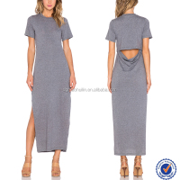 Latest design simple plain sport style long dress long sleeve cotton maxi dress from india